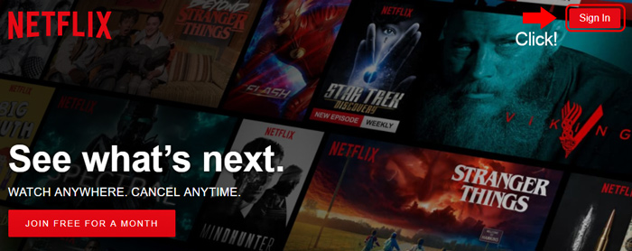 netflix homepage sign in