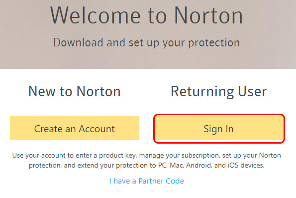 norton account sign in