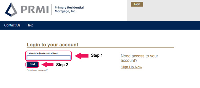 primary residential mortgage website login