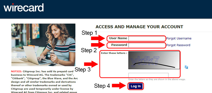 citi wirecard login page