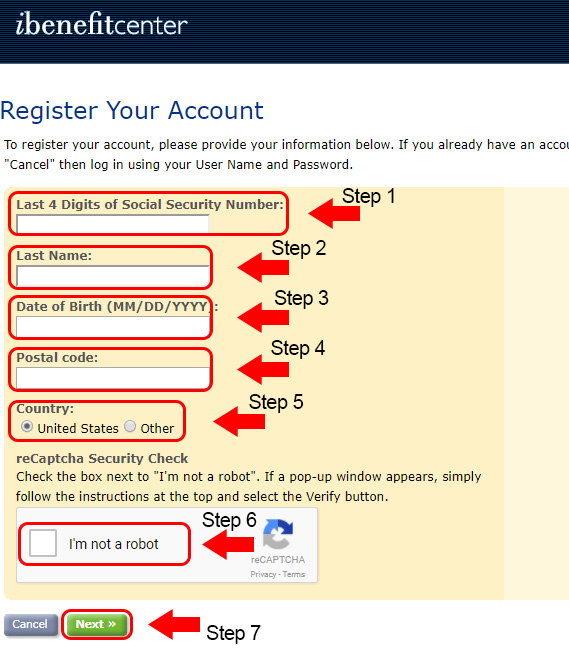 ibenefit center registering process